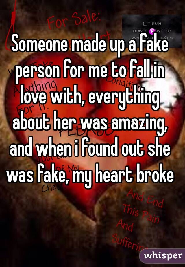 Someone made up a fake person for me to fall in love with, everything about her was amazing, and when i found out she was fake, my heart broke