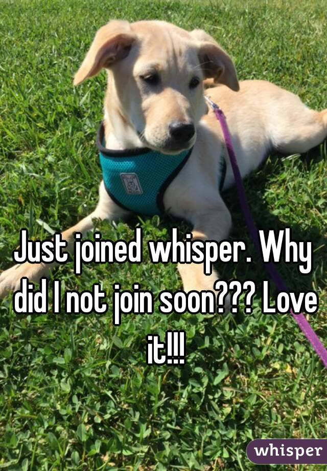 Just joined whisper. Why did I not join soon??? Love it!!!
