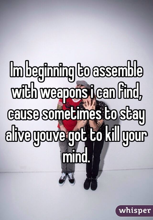 Im beginning to assemble with weapons i can find, cause sometimes to stay alive youve got to kill your mind.