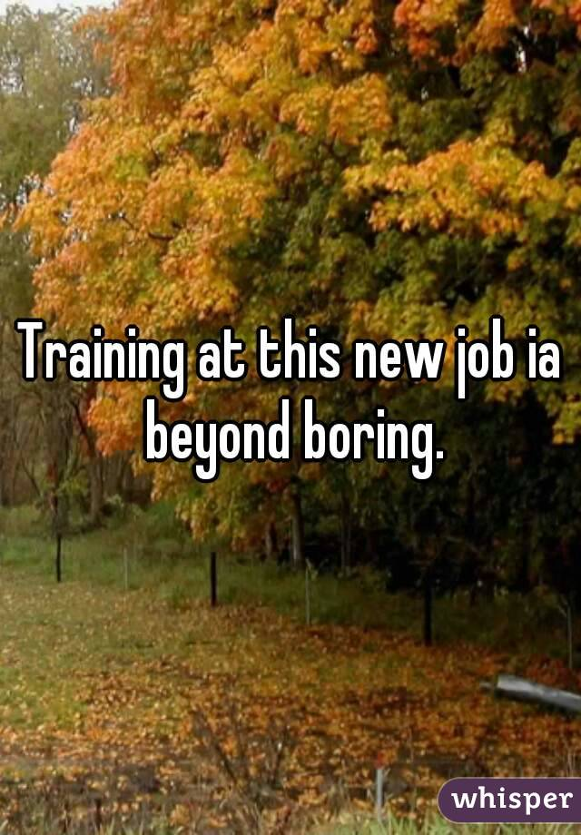 Training at this new job ia beyond boring.