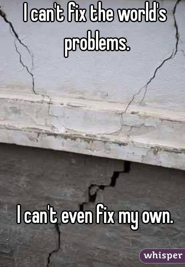 I can't fix the world's problems.      I can't even fix my own.