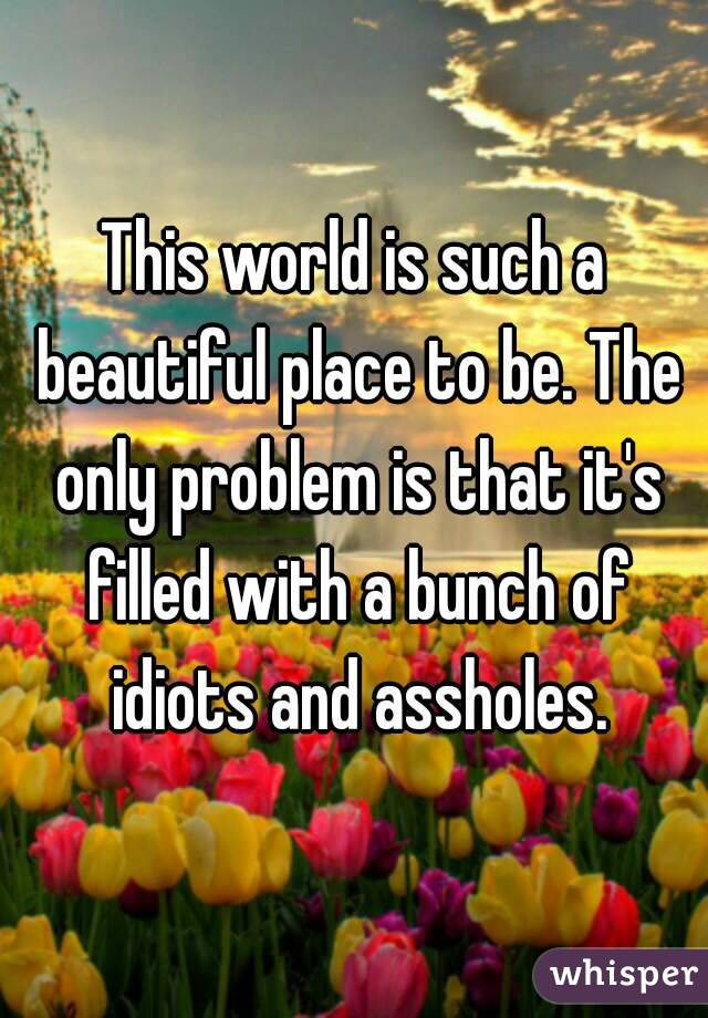 This world is such a beautiful place to be. The only problem is that it's filled with a bunch of idiots and assholes.