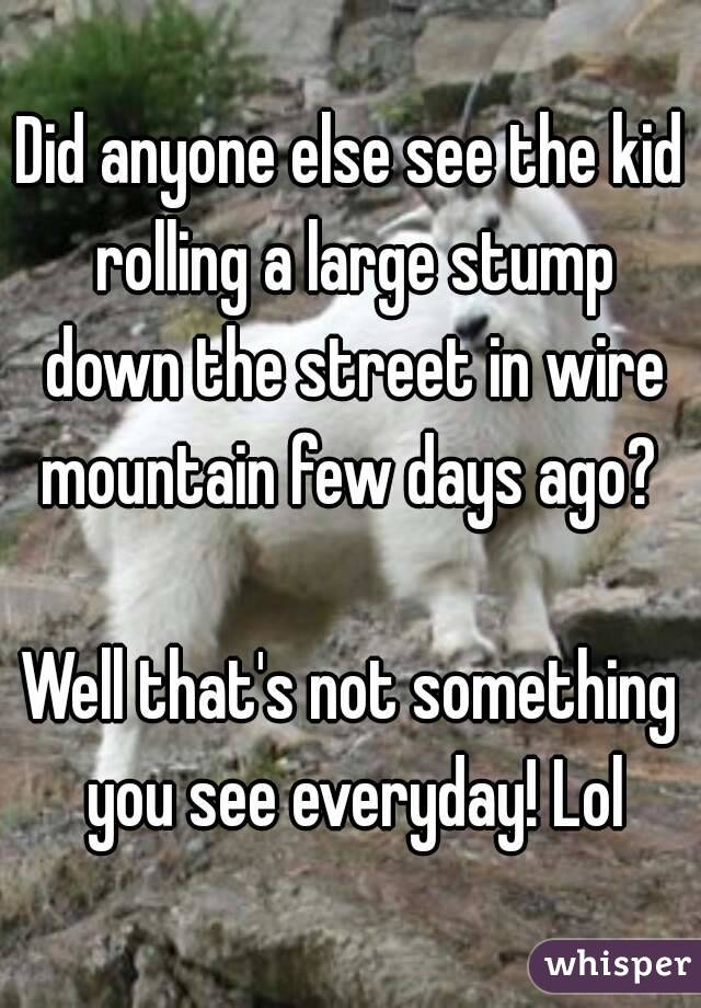 Did anyone else see the kid rolling a large stump down the street in wire mountain few days ago?   Well that's not something you see everyday! Lol