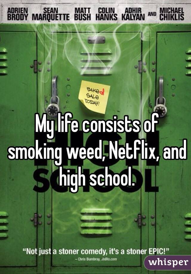 My life consists of smoking weed, Netflix, and high school.