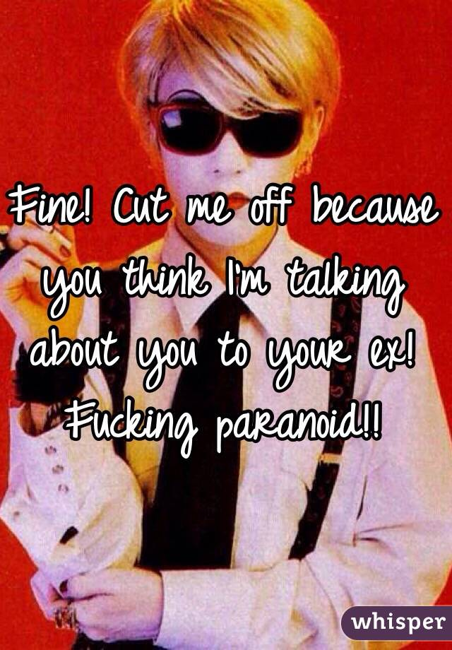 Fine! Cut me off because you think I'm talking about you to your ex! Fucking paranoid!!