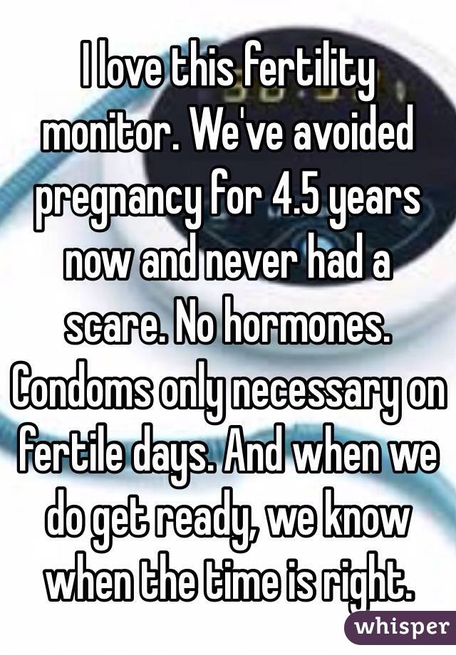 I love this fertility monitor. We've avoided pregnancy for 4.5 years now and never had a scare. No hormones. Condoms only necessary on fertile days. And when we do get ready, we know when the time is right.