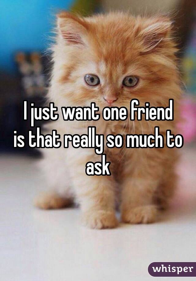I just want one friend is that really so much to ask
