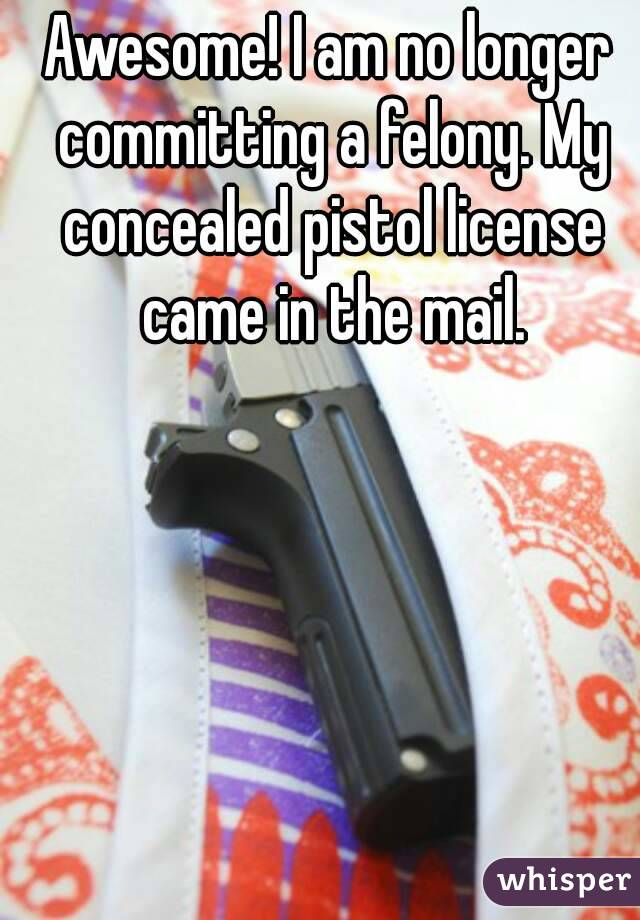 Awesome! I am no longer committing a felony. My concealed pistol license came in the mail.