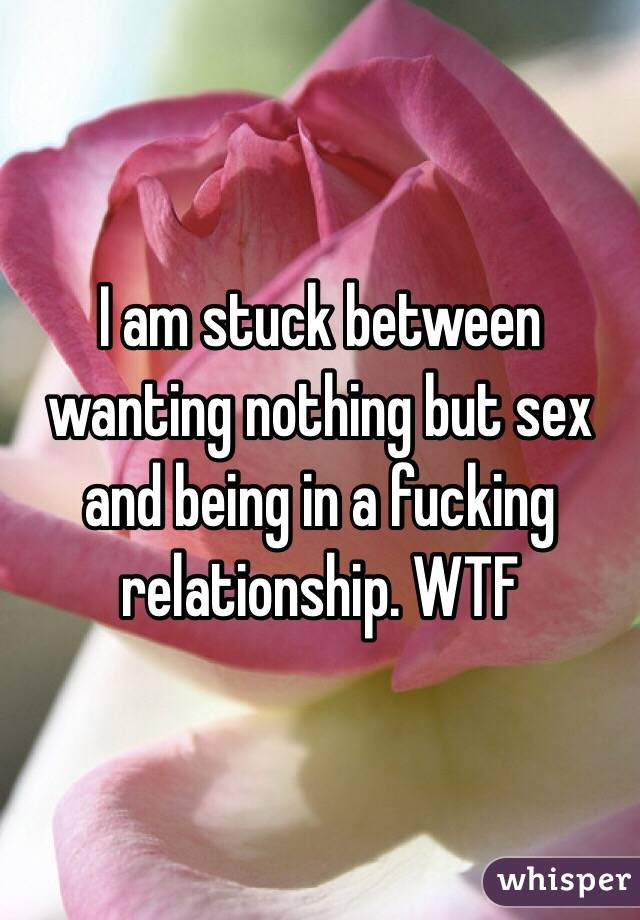 I am stuck between wanting nothing but sex and being in a fucking relationship. WTF