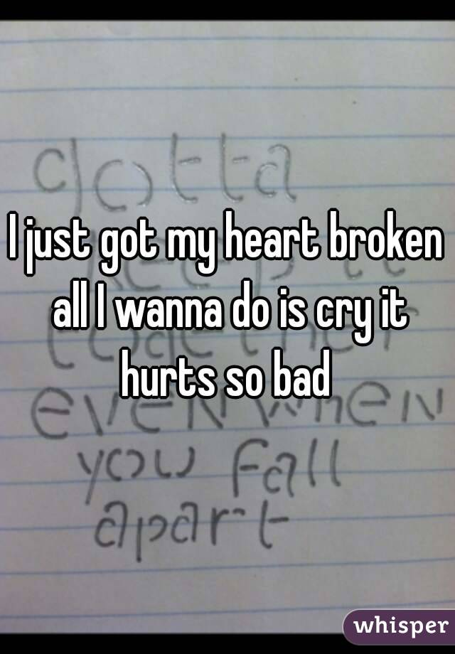 I just got my heart broken all I wanna do is cry it hurts so bad