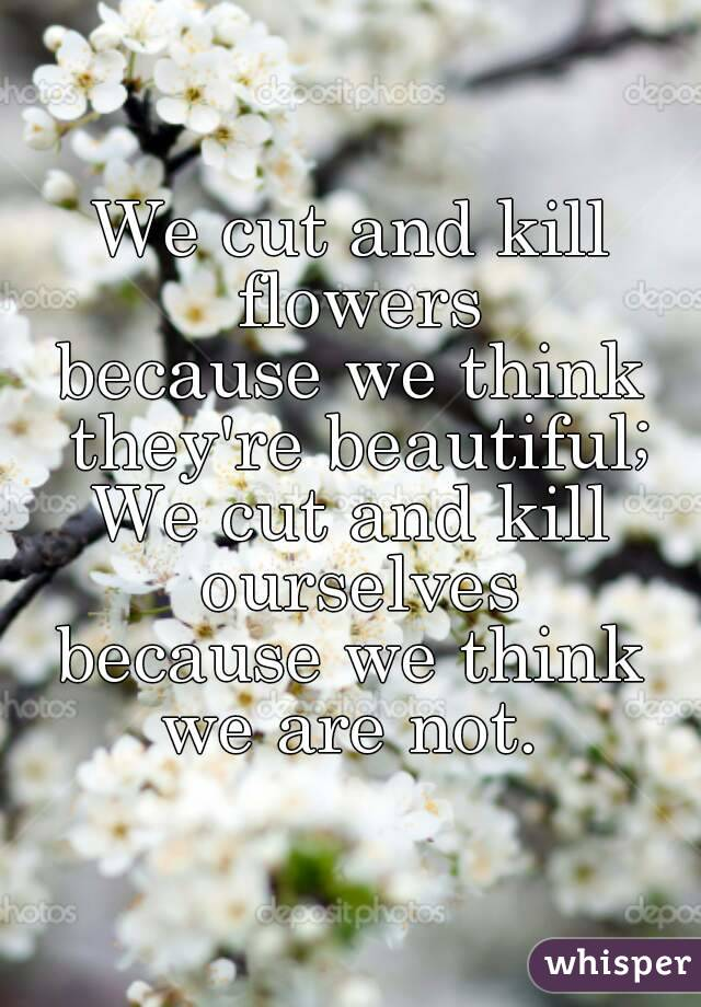 We cut and kill flowers because we think they're beautiful; We cut and kill ourselves because we think we are not.