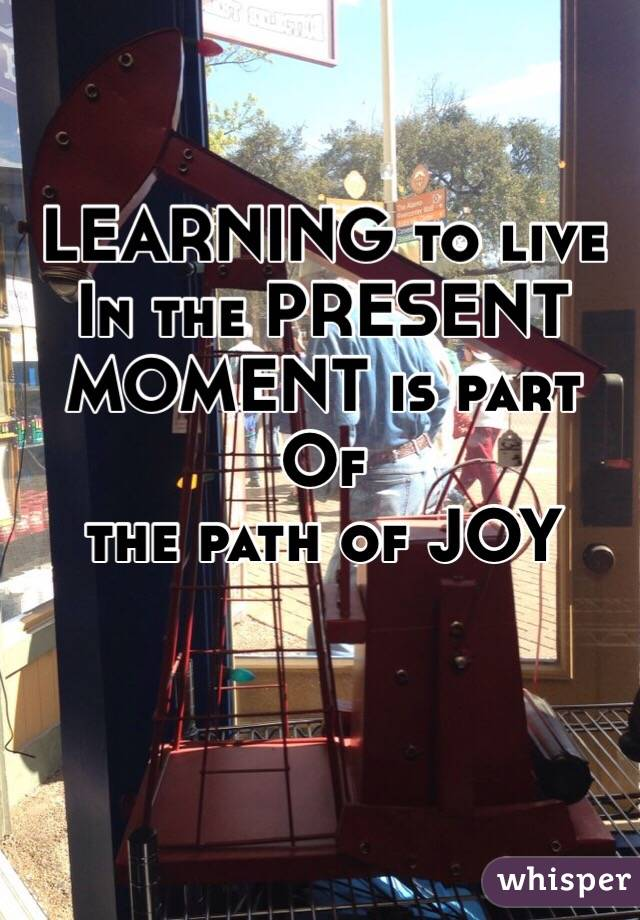 LEARNING to live In the PRESENT MOMENT is part Of  the path of JOY