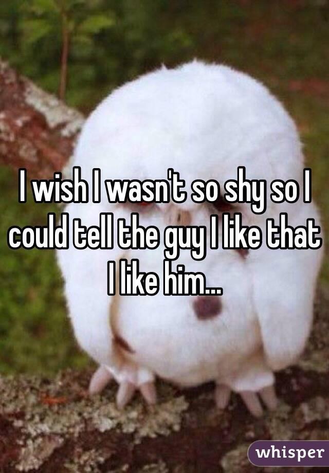 I wish I wasn't so shy so I could tell the guy I like that I like him...
