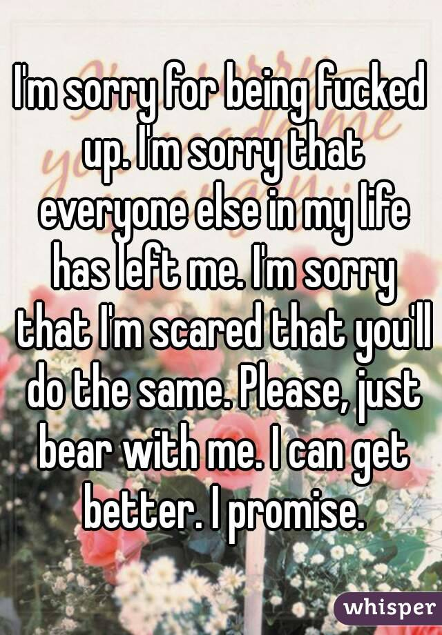 I'm sorry for being fucked up. I'm sorry that everyone else in my life has left me. I'm sorry that I'm scared that you'll do the same. Please, just bear with me. I can get better. I promise.
