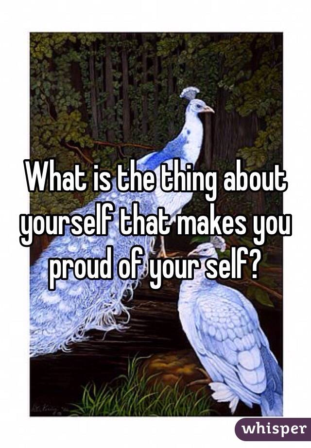 What is the thing about yourself that makes you proud of your self?