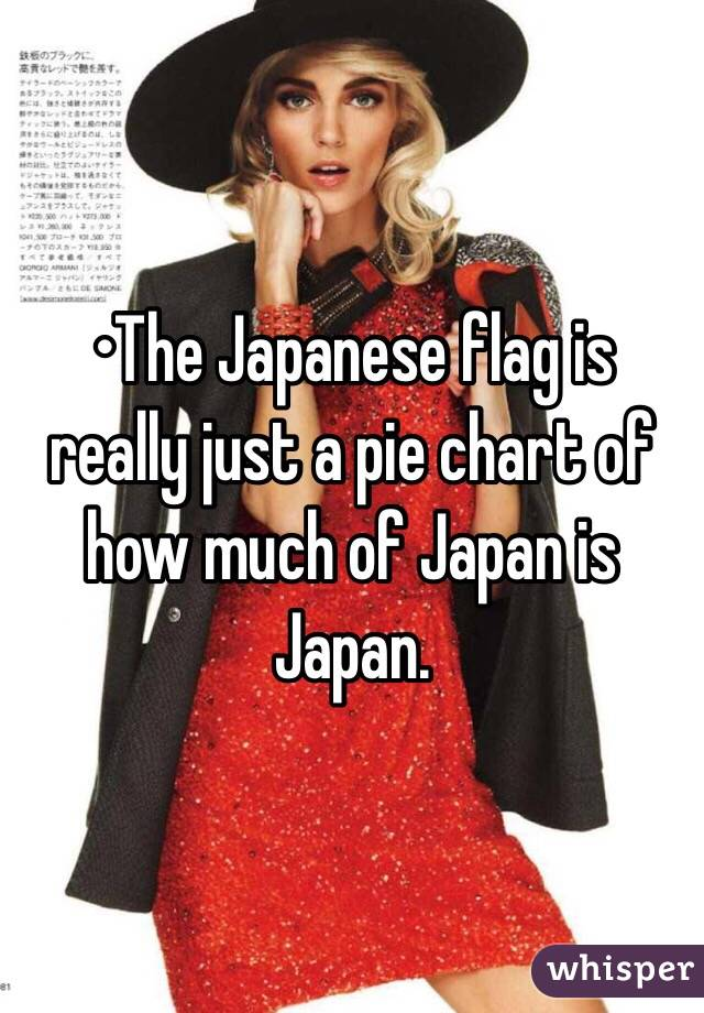 •The Japanese flag is really just a pie chart of how much of Japan is Japan.