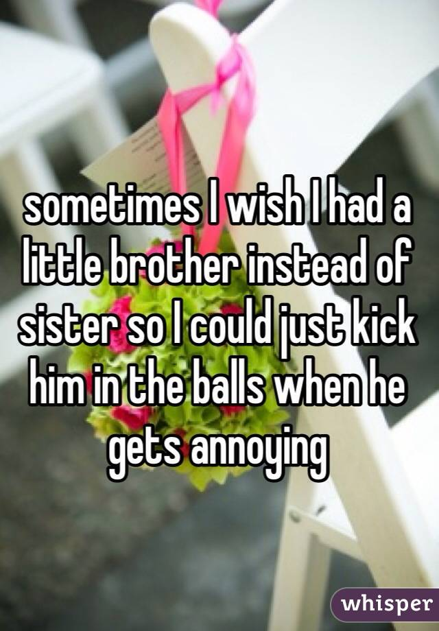 sometimes I wish I had a little brother instead of sister so I could just kick him in the balls when he gets annoying