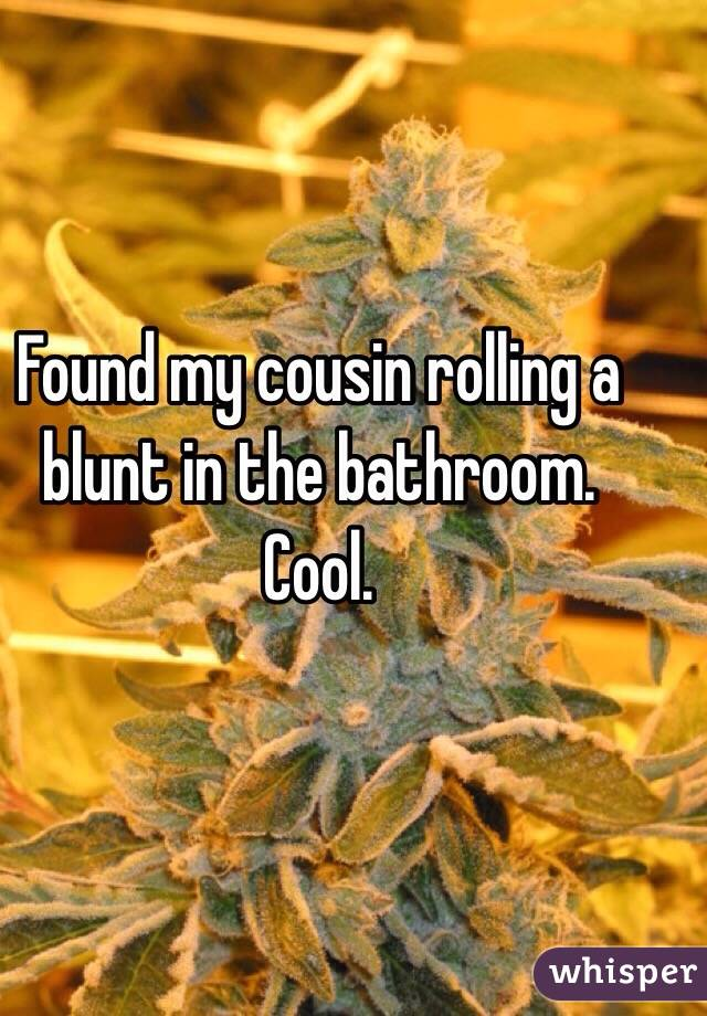 Found my cousin rolling a blunt in the bathroom. Cool.