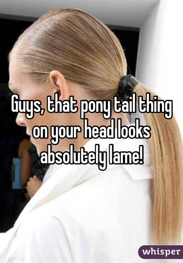 Guys, that pony tail thing on your head looks absolutely lame!