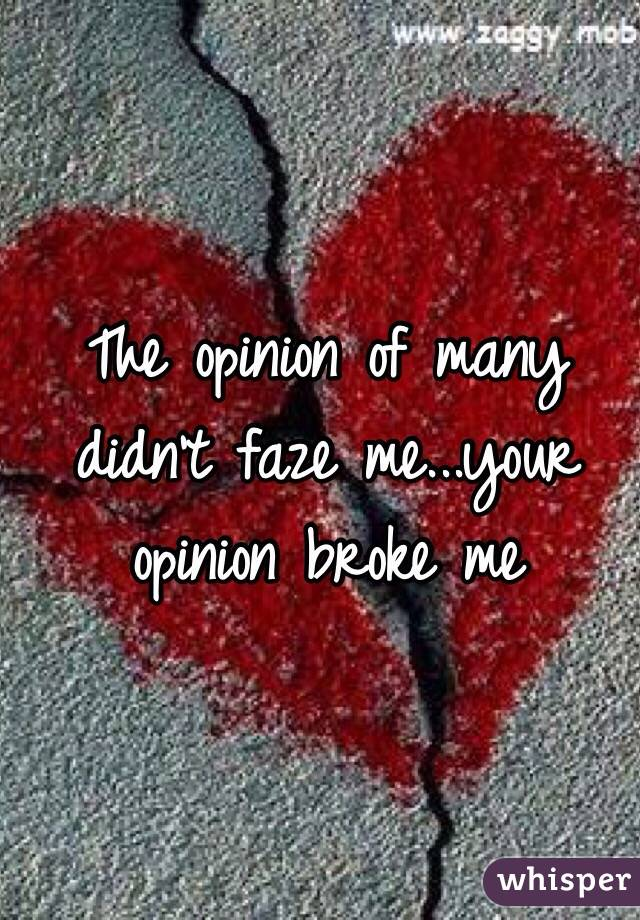 The opinion of many didn't faze me...your opinion broke me