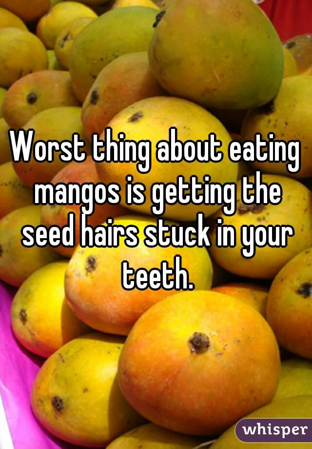 Worst thing about eating mangos is getting the seed hairs stuck in your teeth.