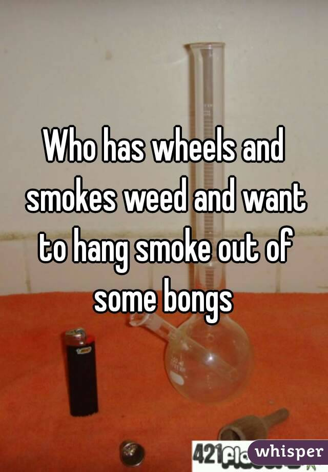 Who has wheels and smokes weed and want to hang smoke out of some bongs