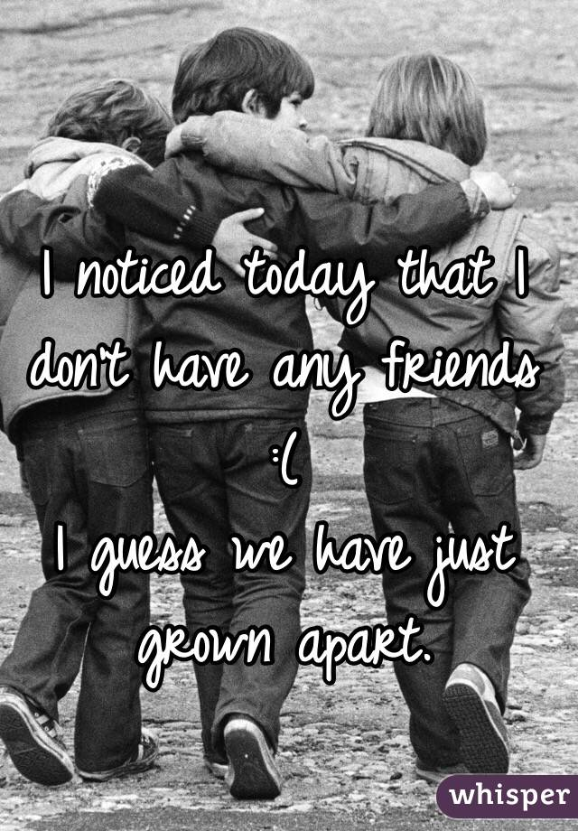 I noticed today that I don't have any friends  :(  I guess we have just grown apart.