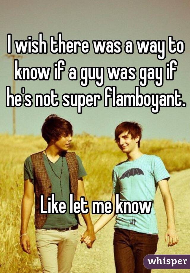 I wish there was a way to know if a guy was gay if he's not super flamboyant.     Like let me know