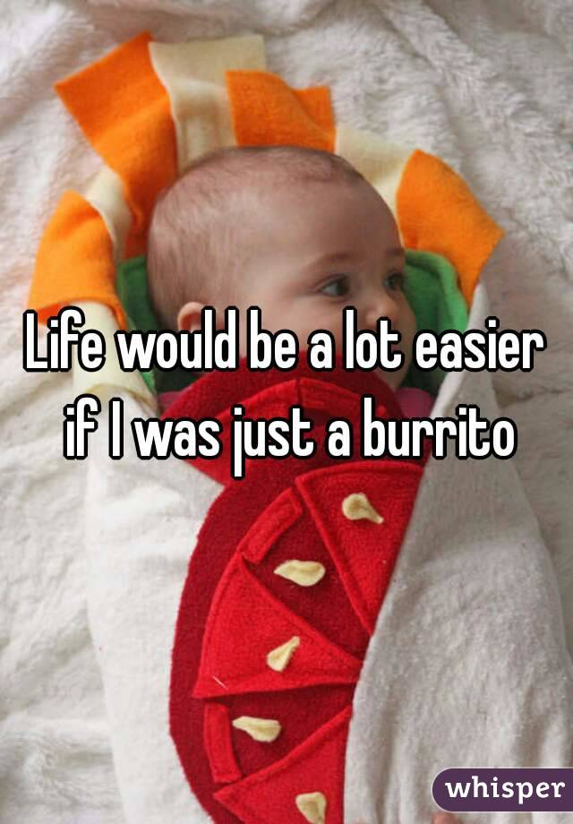 Life would be a lot easier if I was just a burrito