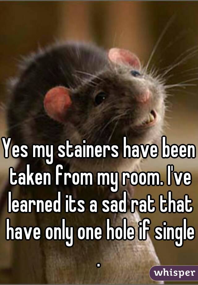 Yes my stainers have been taken from my room. I've learned its a sad rat that have only one hole if single .