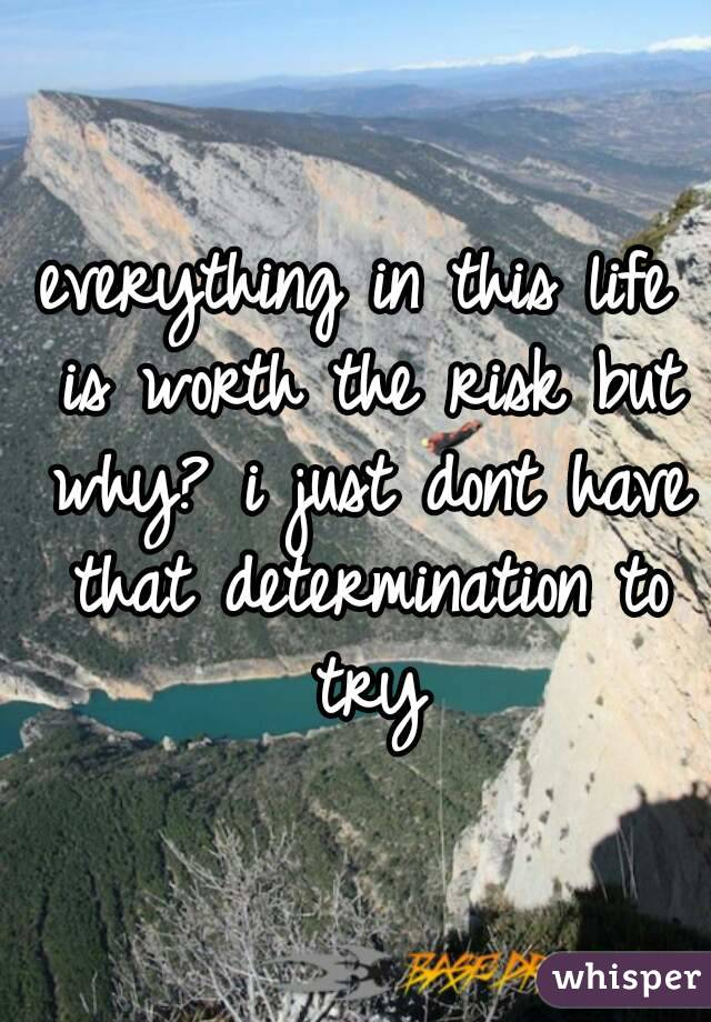 everything in this life is worth the risk but why? i just dont have that determination to try