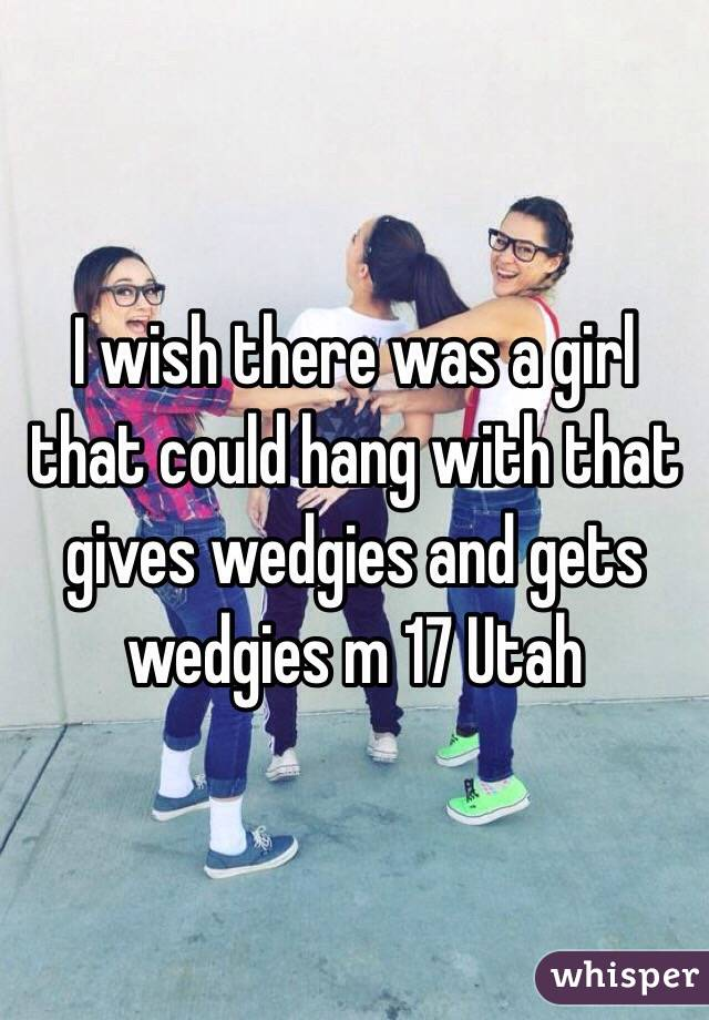 I wish there was a girl that could hang with that gives wedgies and gets wedgies m 17 Utah