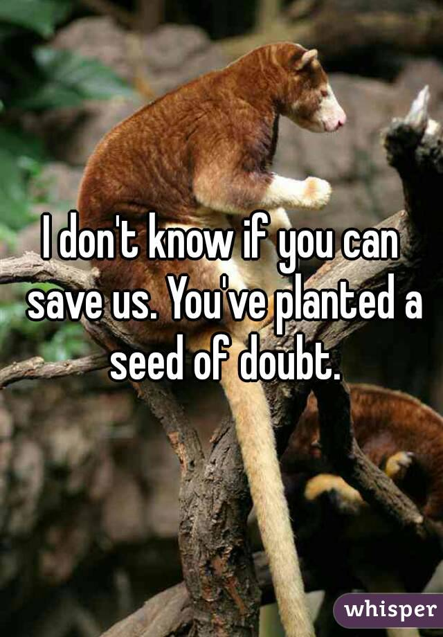 I don't know if you can save us. You've planted a seed of doubt.