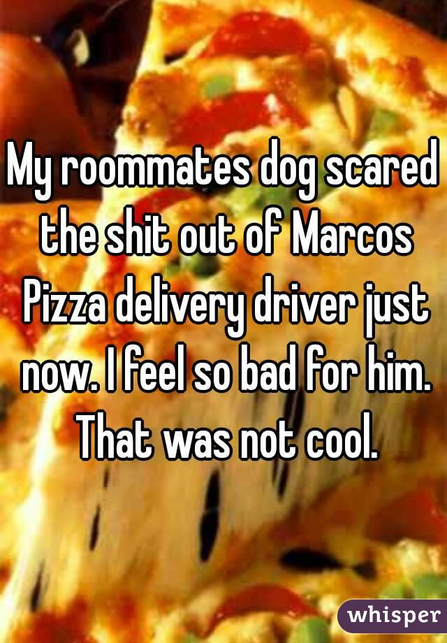 My roommates dog scared the shit out of Marcos Pizza delivery driver just now. I feel so bad for him. That was not cool.