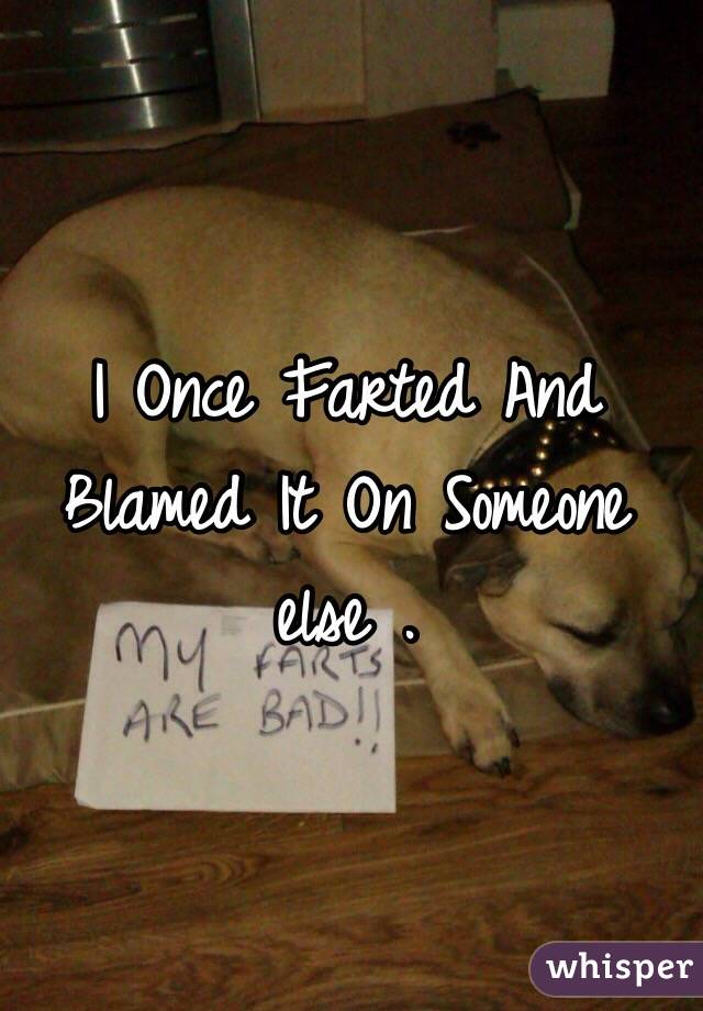 I Once Farted And Blamed It On Someone else .