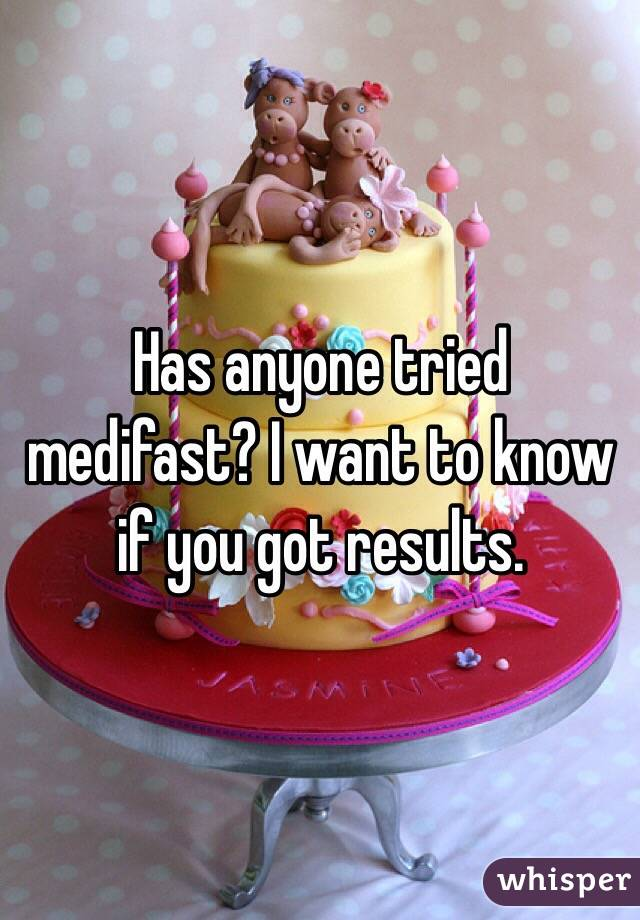 Has anyone tried medifast? I want to know if you got results.