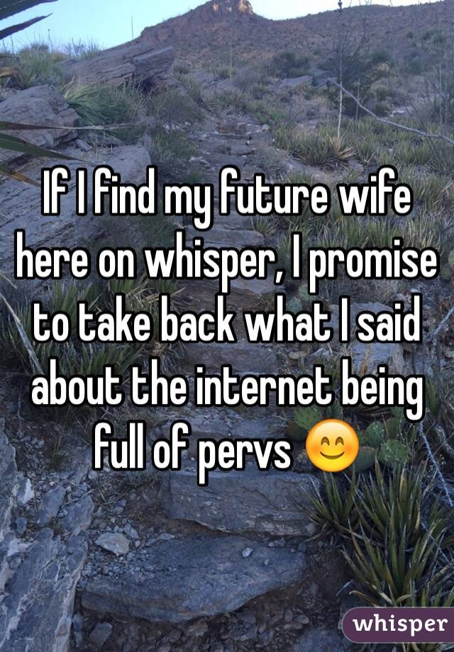 If I find my future wife here on whisper, I promise to take back what I said about the internet being full of pervs 😊