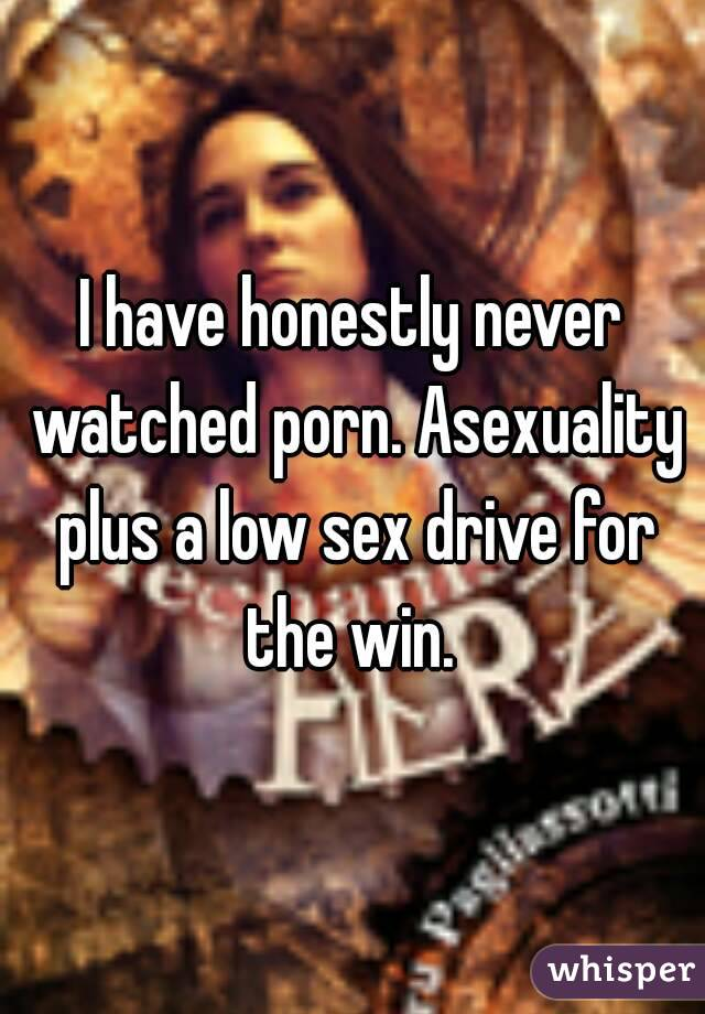 I have honestly never watched porn. Asexuality plus a low sex drive for the win.
