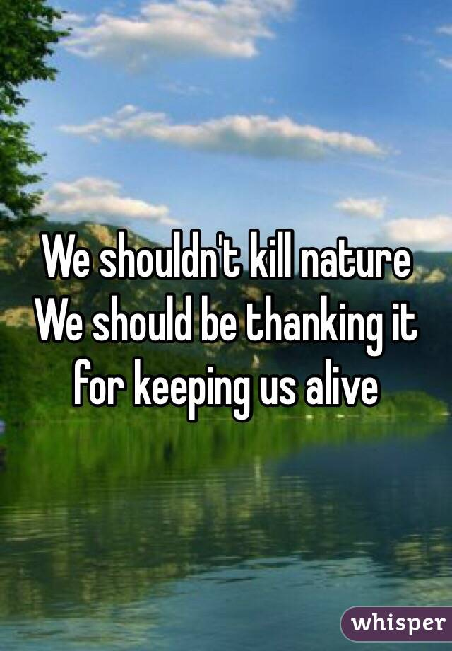 We shouldn't kill nature We should be thanking it for keeping us alive