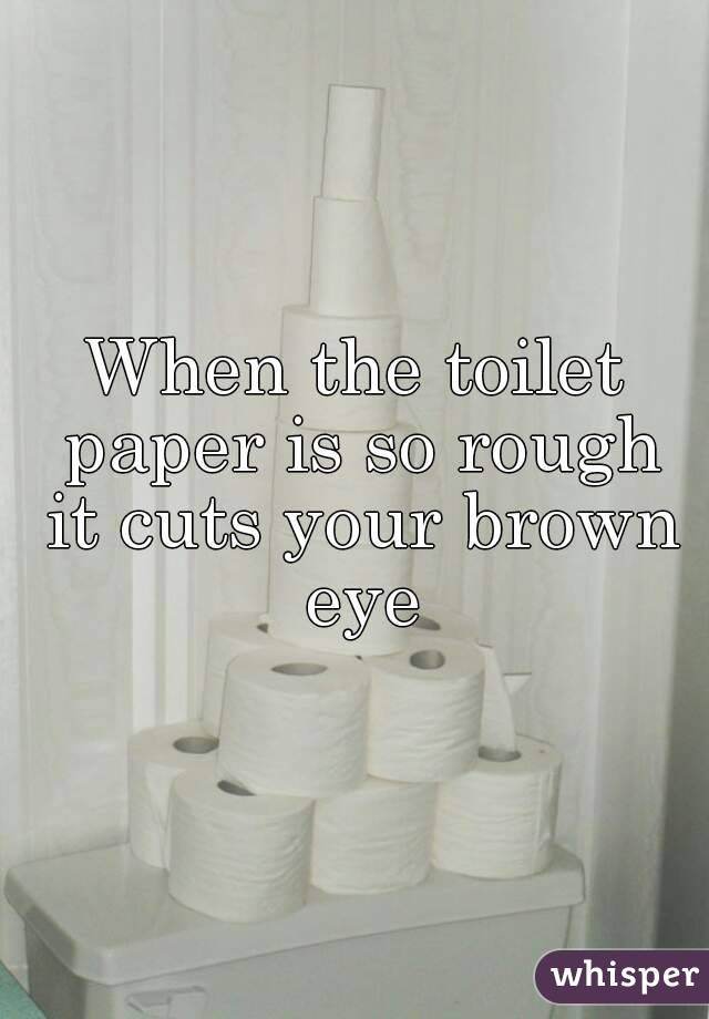 When the toilet paper is so rough it cuts your brown eye
