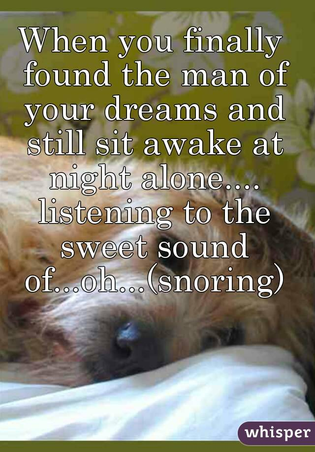 When you finally found the man of your dreams and still sit awake at night alone.... listening to the sweet sound of...oh...(snoring)