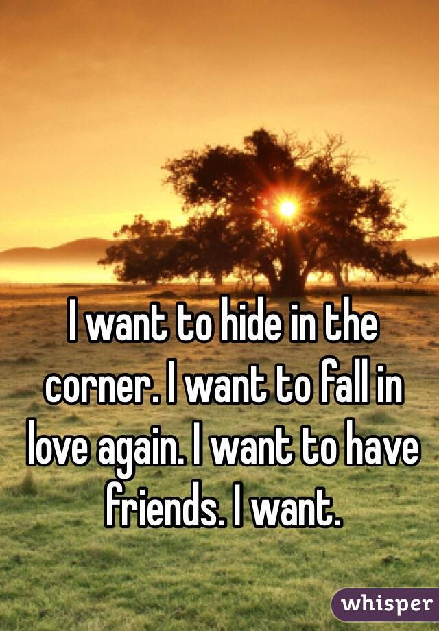 I want to hide in the corner. I want to fall in love again. I want to have friends. I want.