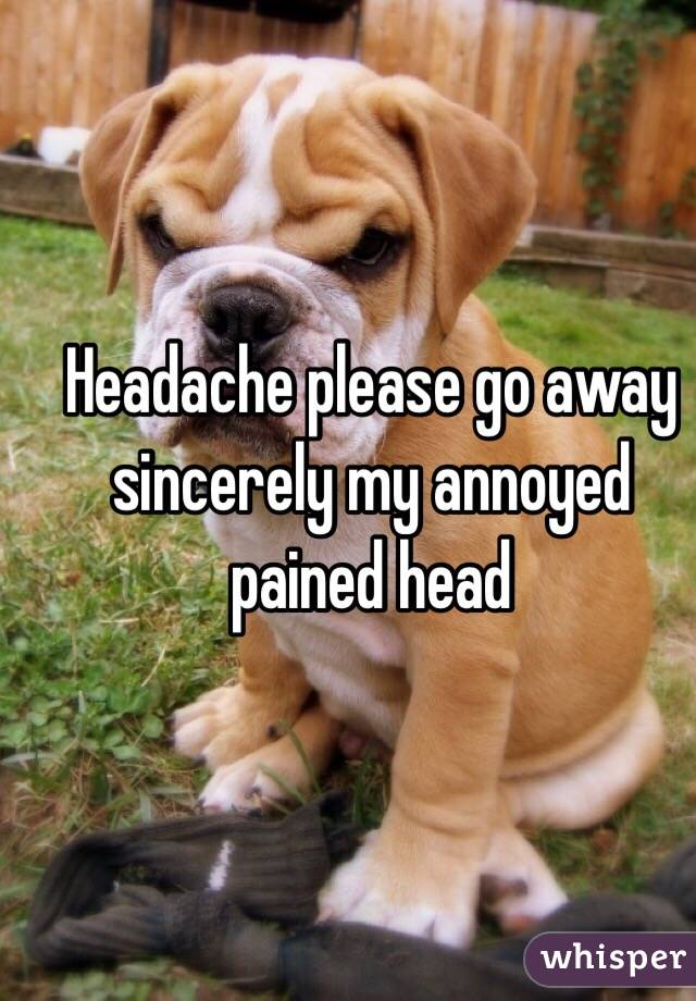 Headache please go away sincerely my annoyed pained head