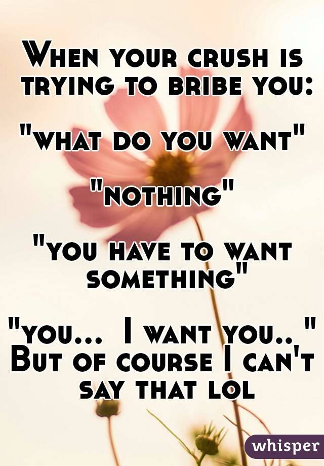"""When your crush is trying to bribe you:  """"what do you want""""  """"nothing""""  """"you have to want something""""  """"you...  I want you.. """" But of course I can't say that lol"""