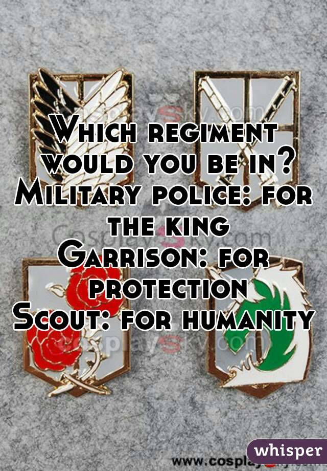 Which regiment would you be in? Military police: for the king Garrison: for protection Scout: for humanity