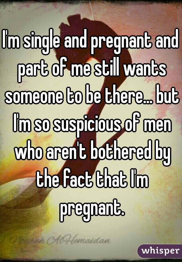 I'm single and pregnant and part of me still wants someone to be there... but I'm so suspicious of men who aren't bothered by the fact that I'm pregnant.