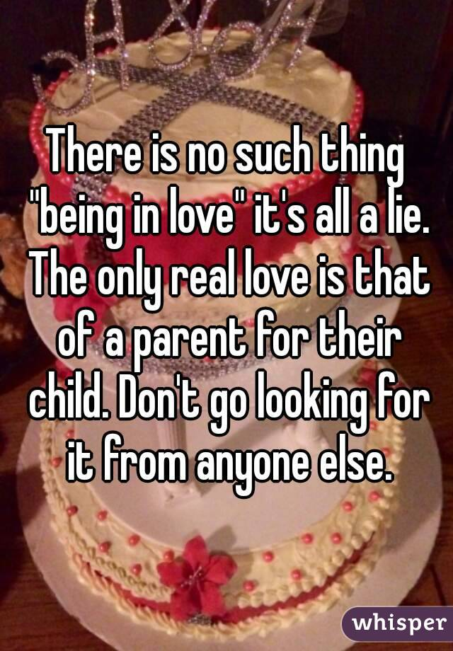 """There is no such thing """"being in love"""" it's all a lie. The only real love is that of a parent for their child. Don't go looking for it from anyone else."""