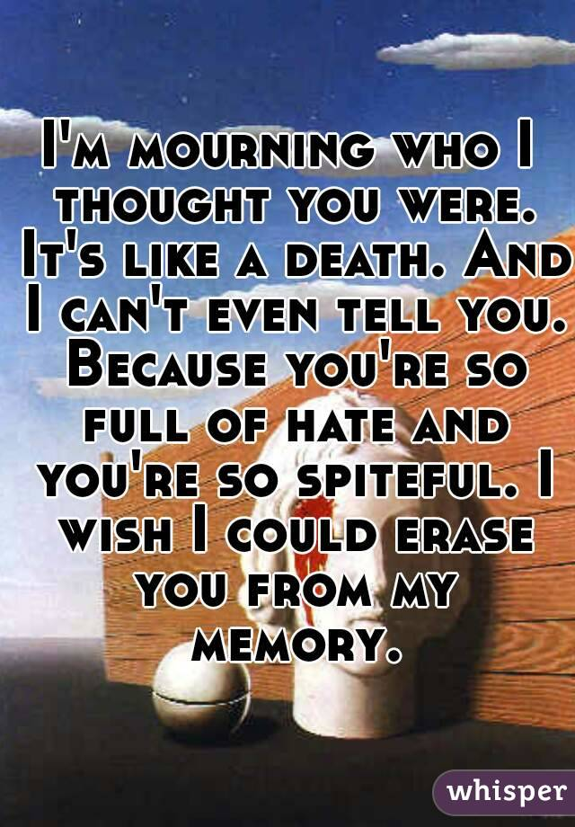 I'm mourning who I thought you were. It's like a death. And I can't even tell you. Because you're so full of hate and you're so spiteful. I wish I could erase you from my memory.