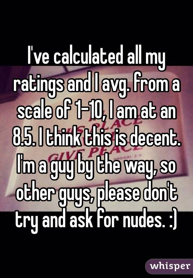 I've calculated all my ratings and I avg. from a scale of 1-10, I am at an 8.5. I think this is decent. I'm a guy by the way, so other guys, please don't try and ask for nudes. :)