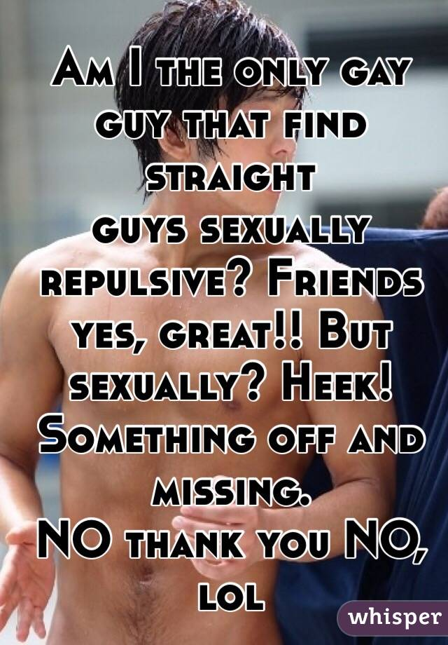 Am I the only gay guy that find straight  guys sexually repulsive? Friends yes, great!! But sexually? Heek! Something off and missing. NO thank you NO, lol